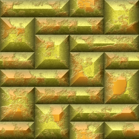 beveled: 3d Abstract seamless mosaic pattern of gold and orange squares and rectangles beveled