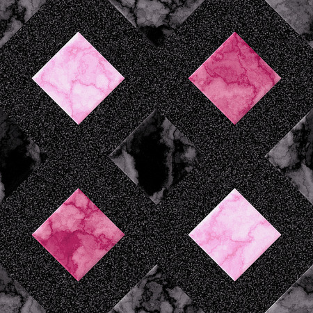 grained: Abstract seamless pink marbled pattern of squares on a black background grained