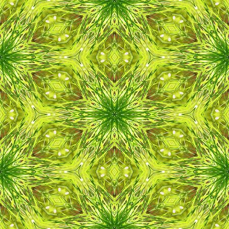 grass blades: Kaleidoscopic Abstract seamless pattern with blades of grass