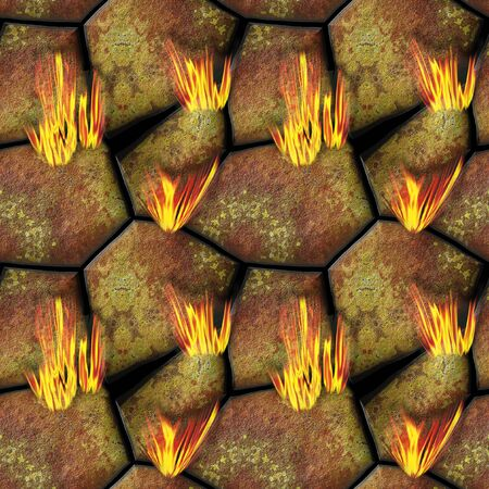 hot stones: Way to hell with hot red and yellow stones and fire, seamless pattern of stones and burning flames Stock Photo