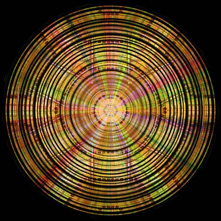 spectral: Abstract circular gold, red, green and pink disc with spectral rays on a black background Stock Photo