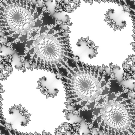 scalloped: Abstract seamless black and white fractal pattern with Scalloped structure. Black and white ornamental psychedellic fractal pattern on a white background Stock Photo