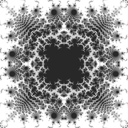 scalloped: Abstract black and white fractal pattern with Scalloped structure. Kaleidoscopic magic ornamental pattern with stylized flowers on a white background