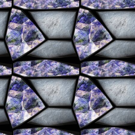 opalescent: Abstract seamless pattern of relief silver stones and rainbow crystals. Background of grained triangular sharp stones and blue, pink and green opalescent gemstones
