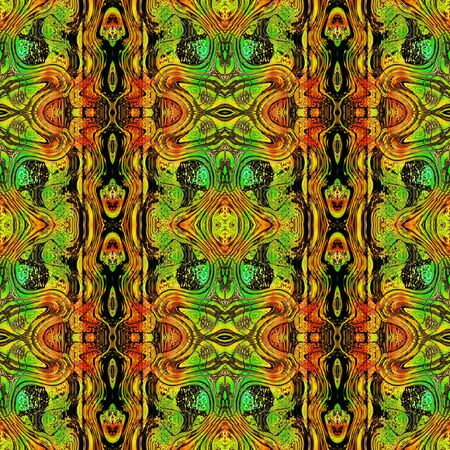 scalloped: Abstract seamless stylized Scalloped pattern. Green, orange, red and black abstract reptile pattern with Scalloped reptile texture.