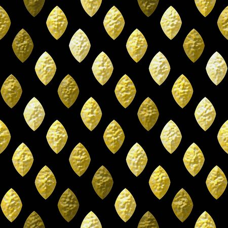 grained: Abstract seamless gold, brown and white grained relief pattern on a black background. Bumpy pattern of beveled brown, yellow and gold oval shapes Stock Photo