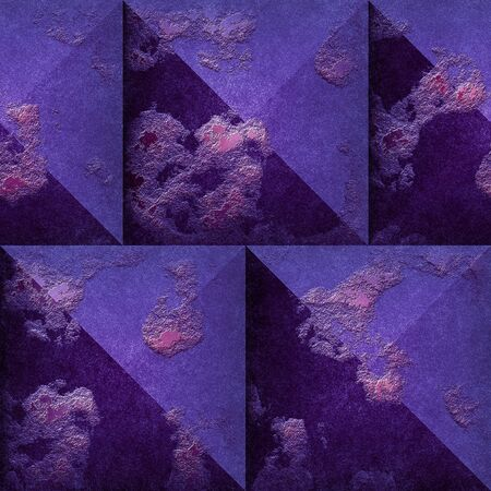 pyramidal: 3d Abstract seamless mosaic pattern of purple and pink beveled squares. Seamless pattern of pyramidal scratched blocks