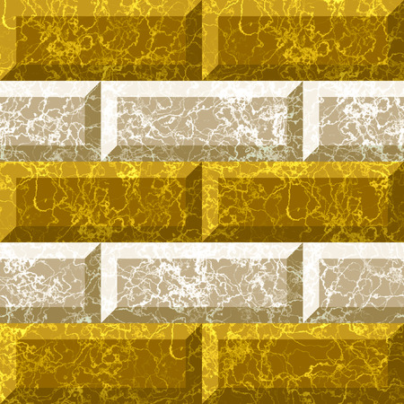 veined: Abstract seamless gold and white marbled pattern with veined structure. Relief gold and white pattern of rectangles with with classic marble texture