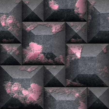 bumpy: Relief 3d seamless mosaic pattern of black and pink scratched cubes