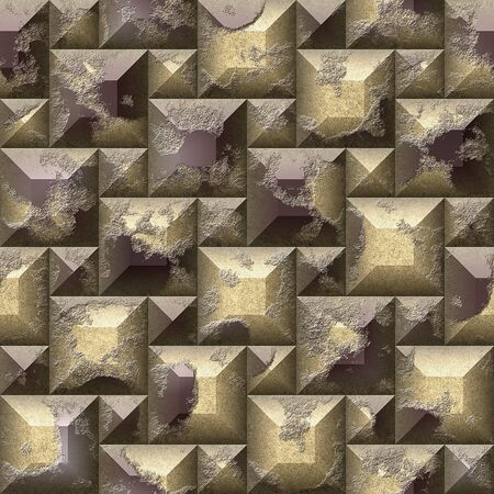 abstract cubes: Seamless relief 3d mosaic pattern of gold and brown scratched beveled squares and pyramidal blocks