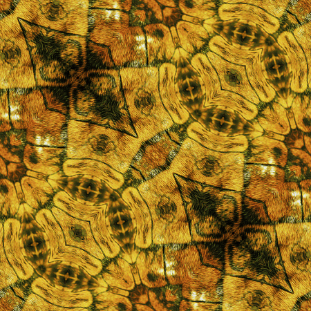 scalloped: Abstract reptile seamless pattern with gold, brown and black Scalloped structure Stock Photo