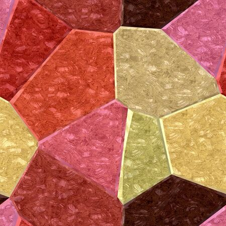 veined: Abstract seamless pattern of layered veined polygons. Red, pink, yellow and brown background polygonal
