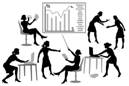 siluetas mujeres: Siluetas de las mujeres de los gerentes de negocios con ordenadores portátiles