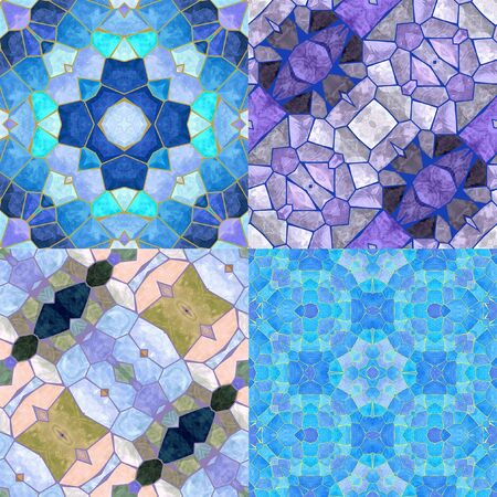 cold colors: Kaleidoscopic Abstract seamless background of stained glass mosaic. Set of four colorful seamless mosaic patterns in the winter cold colors. Blue, white, light purple and gray patterns