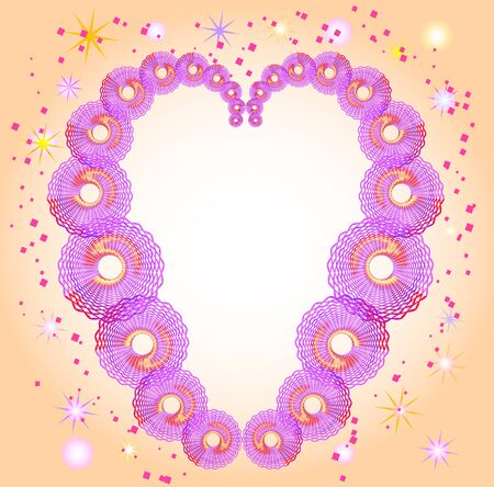 ornamentation: Abstract pink and purple circular objects in heart shapes with stars. Abstract background with guilloche pattern. Abstract architectural ornamentation resembling braided or interlaced ribbons