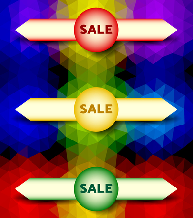 signal pole: Abstract colorful polygonal background with traffic light and arrows. Infographics template with sticker sale Illustration