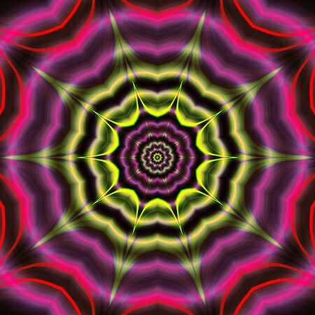 Abstract psychedelic rotating background of green, purple and pink wavy structure with rays and star. Purple, pink and green background with concentric stars