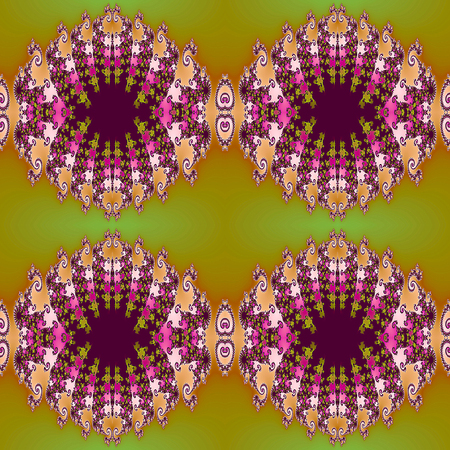 scalloped: Abstract seamless fractal pattern with Scalloped structure. Pink, orange, green and purple fractal ornamental background