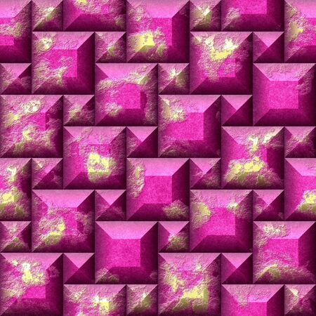 beveled: Abstract seamless relief pattern of gold and pink squares scratched. Mosaic tiled pattern of weathered beveled cubes