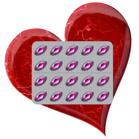 heart disease: Pink pills on a silver plate with red veined heart. Wrinkled silver board with drugs for heart disease