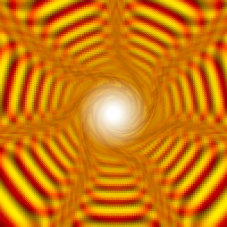 Abstract background of gold layered concentric stripes converging to one point. Gold, red and orange background rotating creating and illusion of movement. Light in the tunnel
