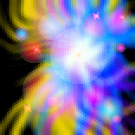 spectral: Abstract glowing background with rays resembling an explosion. Blue, pink, red and yellow spectral beams with flash burst