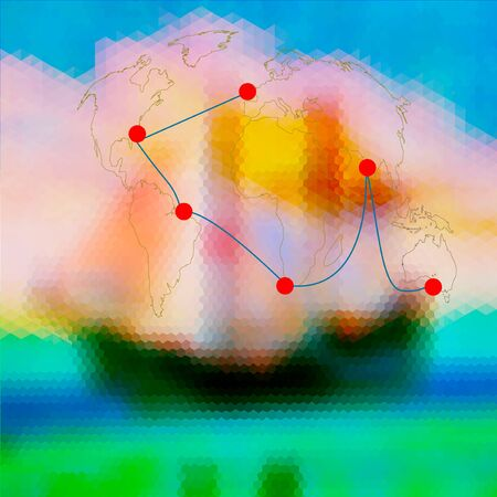 world  hexagon: Hexagonal background with old sailboat, world map and Marked route. Blue and green sea with sky, ship and journey around the world Illustration
