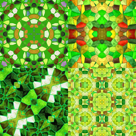tiles floor: Abstract seamless floral background of stained glass mosaic. Set of four colorful seamless mosaic patterns in the spring colors. Green, white, red and yellow Kaleidoscopic patterns Stock Photo