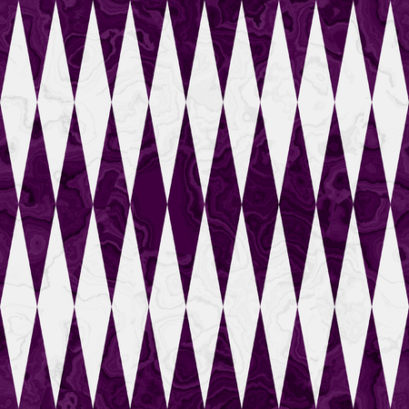 Abstract seamless simple pattern of diamonds. Purple and white seamless pattern of squares with beveled layered marble texture