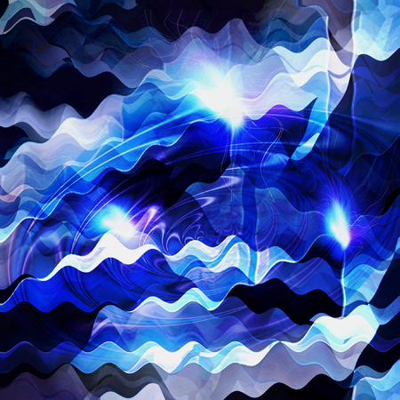 circular blue water ripple: Abstract blue and black background resembling sea with light reflections. Blue and white water vortex pattern with waves Stock Photo