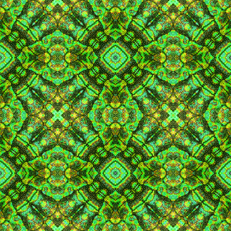 green and black: Abstract seamless ornamental pattern. Green, black and yellow snake stylized Kaleidoscopic pattern