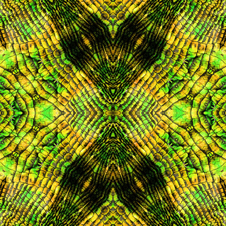 Abstract seamless reptile pattern with stripes and scales. Red, yellow, green and black snake pattern Stock Photo