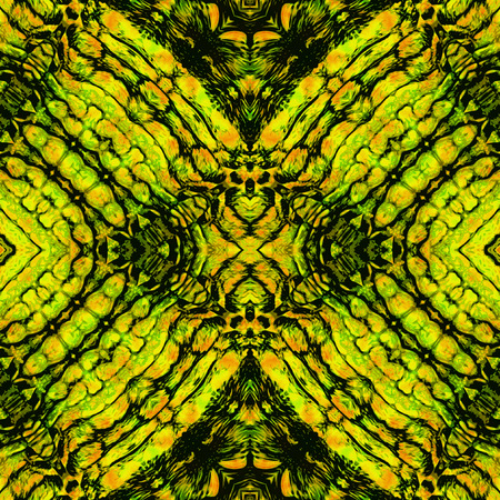 Abstract seamless rough pattern with gold, orange, green and black snake texture of scales. Seamless pattern with stylized reptile Scala structure