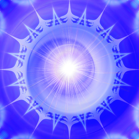 Abstract blue and white background resembling stylized snowflake. Abstract psychedelic object of star and flare with rays Stock Photo