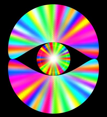spectral: Abstract rainbow background with spectral rays. Pink, yellow, blue, white and green disc-shaped objects on a black background Illustration