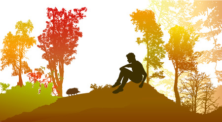 Autumn forest with deciduous trees and silhouette of a boy with hedgehog. Panoramic forest landscape in autumn colors sitting with boy and silhouette of a hedgehog