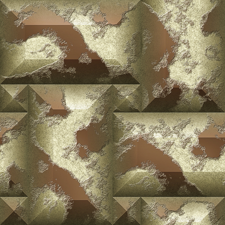 pyramidal: Seamless relief 3d mosaic pattern of beige and brown scratched beveled rectangles. Stone wall with relief pyramidal blocks in colors of coffee Stock Photo