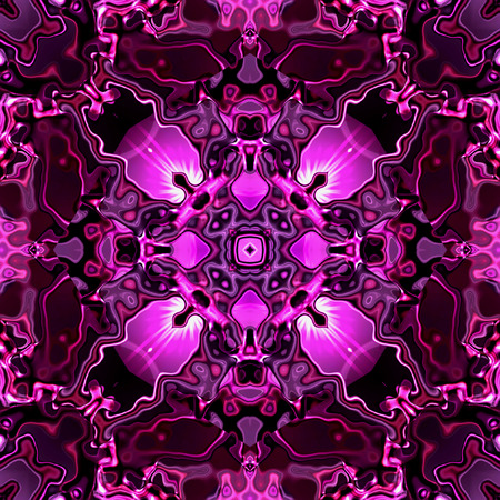 intertwined: Abstract seamless Kaleidoscopic pattern of glowing pink ornamental motifs. Background of purple, pink and white intertwined Kaleidoscopic pattern