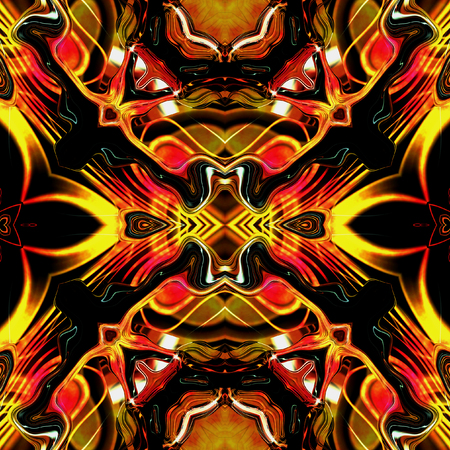 infernal: Dynamic infernal seamless pattern with stylized flames and rays. Red and yellow glowing seamless pattern on a black background