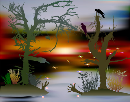 fireflies: Halloween swamp landscape with dark silhouettes of trees, birds and confusing lights. Wetland with ghostly trees and fireflies