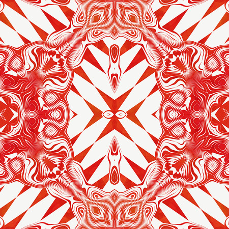 intertwined: Abstract seamless red wavy pattern with intertwined shapes. Retro pattern with triangles and ornaments on a white background
