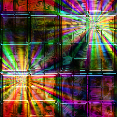 spectral: Abstract background of glass squares with spectral rays. Dark stained window with colorful rays