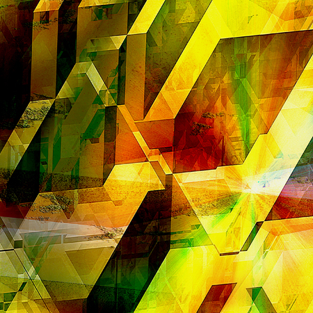 Abstract futuristic background with geometric shapes and light flashes reminiscent of modern architecture. Polygonal futuristic background of prisms and polygonal shapes