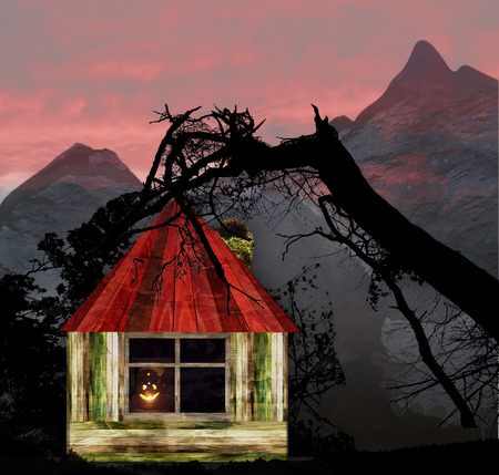 sky  dramatic: Halloween landscape with wooden house, mountains and silhouettes of trees. Dark Scary landscape with dramatic sky red, glowing pumpkin and grunge cabin Stock Photo