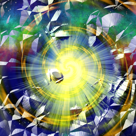 armageddon: Abstract cracked background with rays and spirals. Orange, blue, green and yellow background resembling an explosion in space