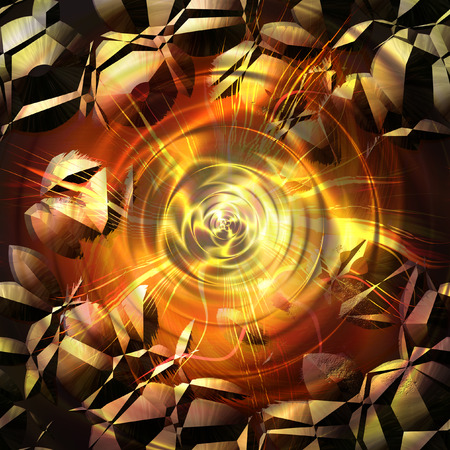 Abstract cracked background with rays and concentric circles. Red, yellow, orange and brown background resembling an explosion in space