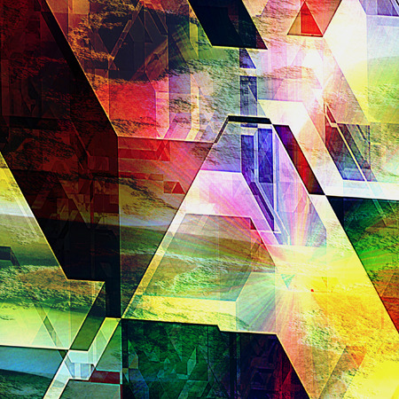 spectral: Abstract futuristic background with geometric shapes and spectral rays reminiscent of modern architecture. Polygonal futuristic background of prisms and polygonal shapes Stock Photo