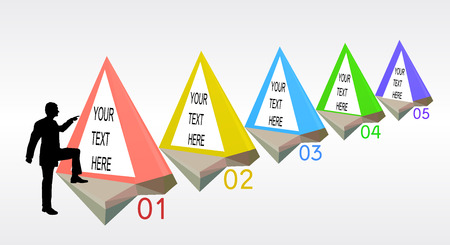 Infographics step by step template with pyramidal objects and silhouette of manager. Five simple triangular diagrams with text and numbers and silhouetter of a man Vektorové ilustrace