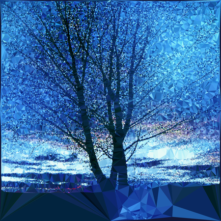 nostalgic: Nostalgic winter landscape with bare tree. Polygonal blue and white landscape with sky and silhouette of tree