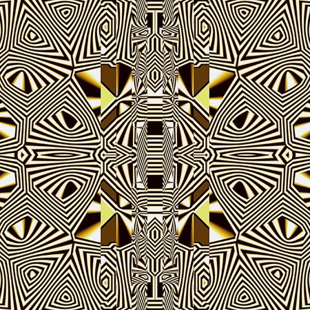 Abstrakte futuristische nahtlose Muster von Streifen und schneidende Formen. Braun, Gold und Schwarz nahtlose hypnotische Muster
